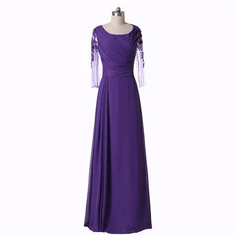 Sleeve A Line Evening Gown purple a line evening dresses illusion sleeves new