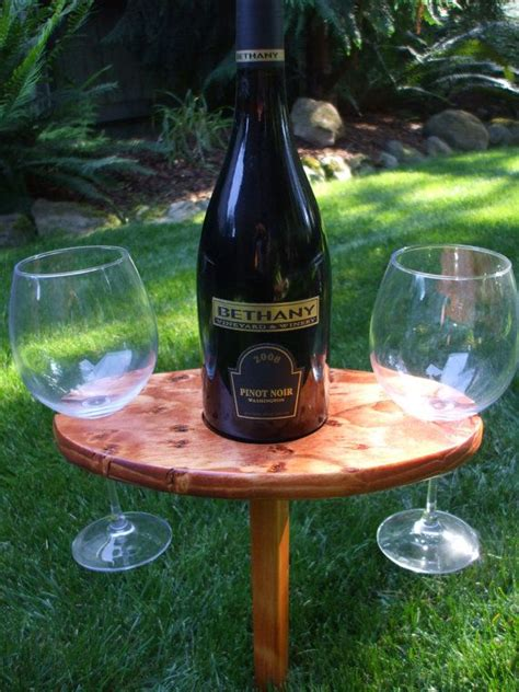 portable outdoor wine table and glass holder stained