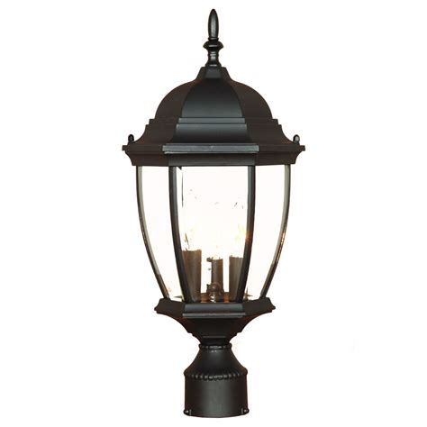 elite light fixtures wexford collection post mount 3 light outdoor matte black light fixture 5017bk elite fixtures