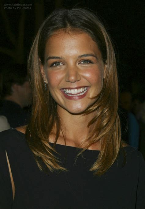 katie holmes wearing  long hair   youthful style  tapered sides