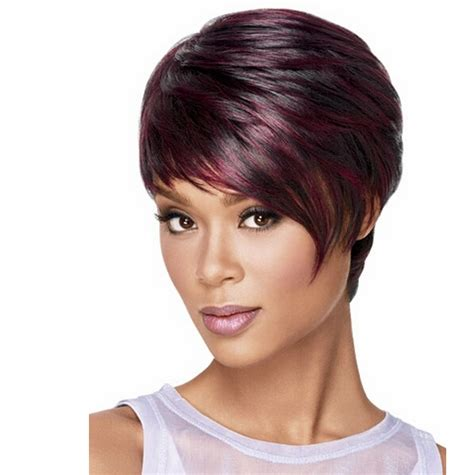 women cap haircut wine red and black mixed heat resistant synthetic wig