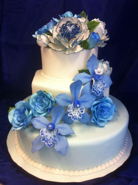 Blue Flower Wedding Cake by Blue Wedding Cake With Gumpaste Flowers Cakecentral