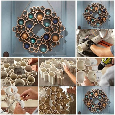 how about a diy holiday wreath made with pvc pipes