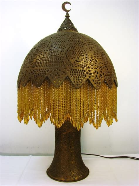 Crystal Lamp by Antique Turkish Brass Table Lamp 1920s Crystal Beads