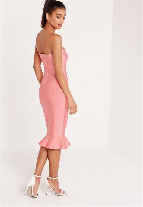 Dress Premium 22 premium bandage bandeau frill hem midi dress pink missguided
