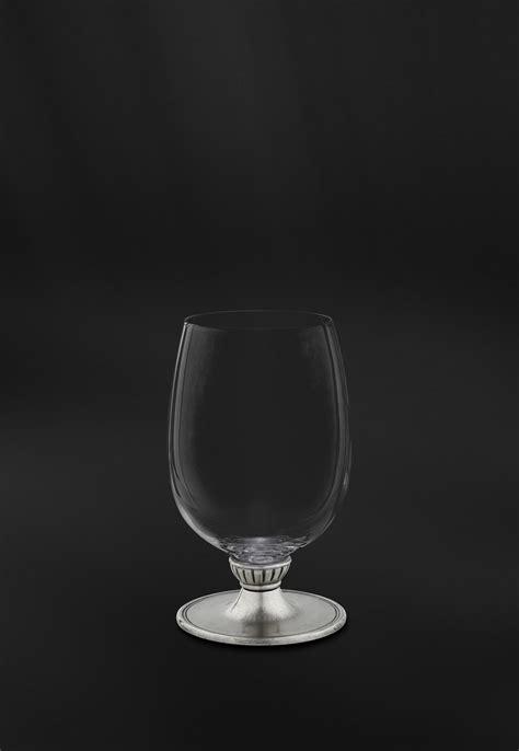 bicchieri acqua e vino bicchiere vino acqua in cristallo e peltro made in italy