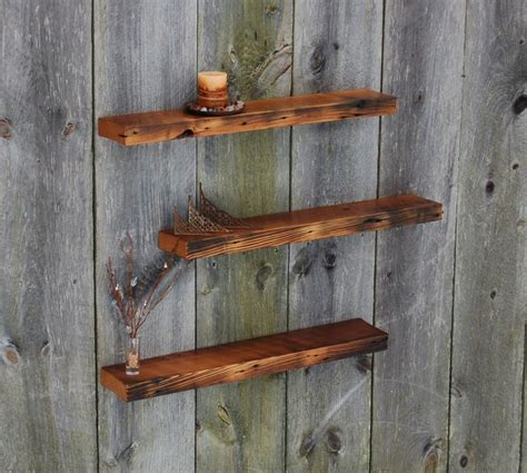 vintage barnwood weathered edge floating shelves set of