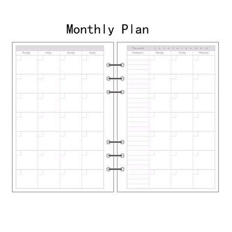 printable planner a6 a5 a6 a7 monthly planner diary insert refill schedule