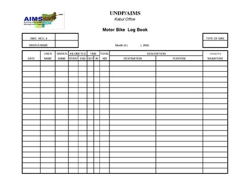 template of vehicle log book automotive logbook pertamini co
