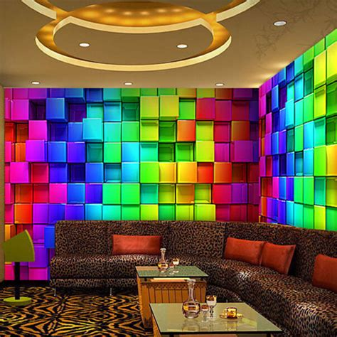 modern mural abstract 3d cube wall murals wallpaper reflectorised ktv decorative plaid mural wall covering