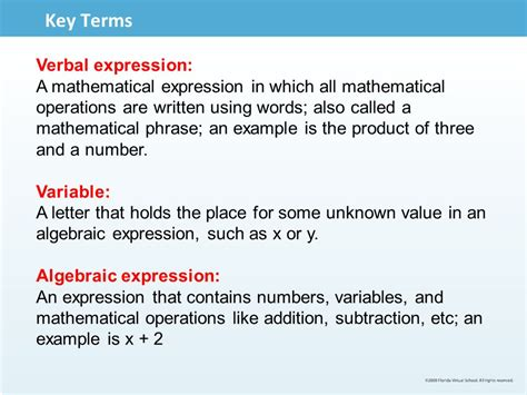 Letter Using Mathematical Terms Algebraic Expressions Ppt