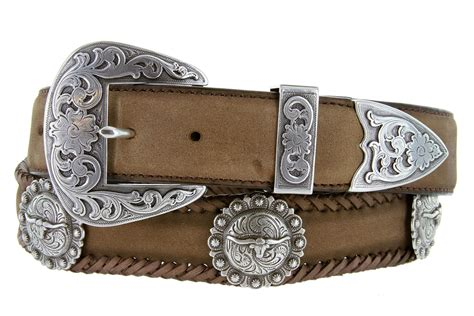 silver laredo longhorn steer berry concho western leather