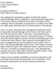 Hotel General Manager Cover Letter by Hotel Manager Covering Letter Sle