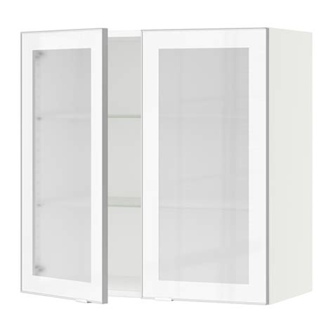 Sektion Wall Cabinet With 2 Glass Doors White Jutis Kitchen Wall Cabinet With Glass Doors