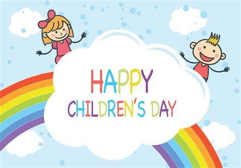 S Day Rainbow Children S Day Vector Free Vector