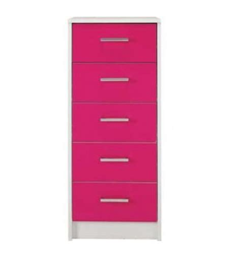 sywell bedroom furniture sywell pink gloss white 5 drawer chest 615 8217