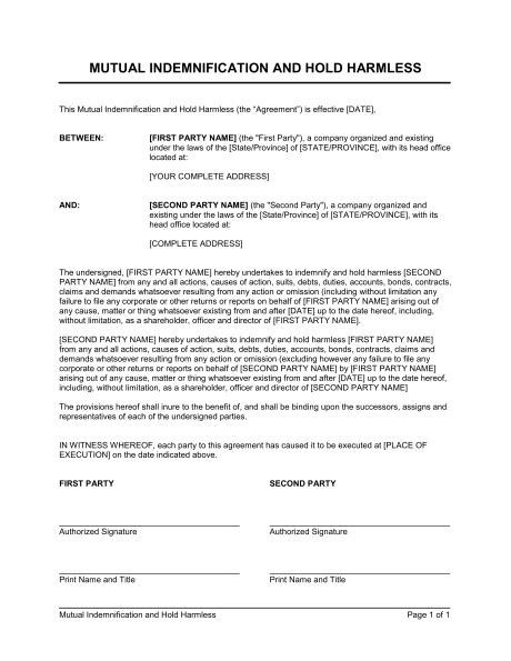 Mutual Indemnification And Hold Harmless Agreement Template Sle Form Biztree Com Indemnification Agreement Template