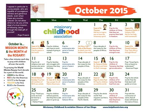 Mba Kindergarten League by St Columba Catholic School 187 Mission Calendar