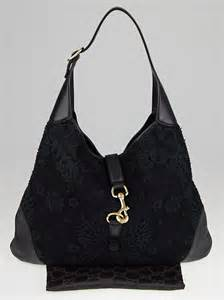 Gucci Large Bouvier Bag by Gucci Black Lace And Leather Large Jackie O Bouvier Hobo