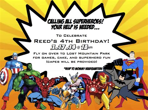 Hold On To Your Hats Reed S Superhero 4th Birthday Party Marvel Invitation Template Free