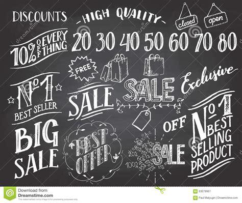 typography sles sale lettering chalkboard set stock vector image 63079967