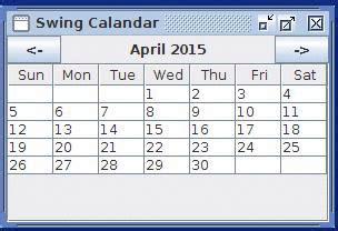 a calendar in java java exles swing swing calendar