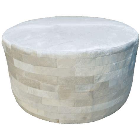 White Round Cowhide Ottoman 36 Inch 36 Inch Ottoman