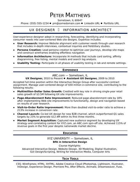 Sle Resume For A Midlevel Ux Designer Monster Com Ux Designer Resume Template
