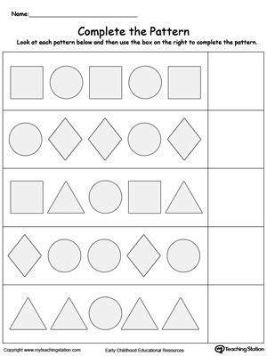 pattern recognition for kindergarten early childhood math worksheets shape patterns math and
