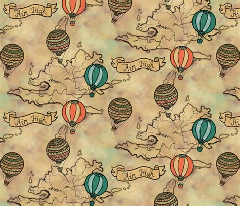 fabric pattern map balloons map pattern fabric lusykoror spoonflower
