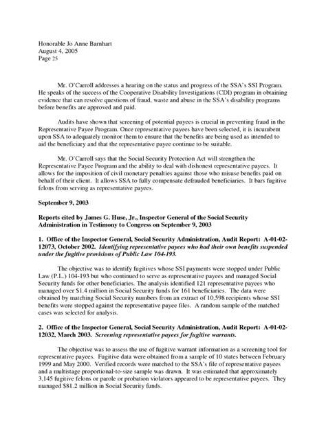 Representative Payee Letter