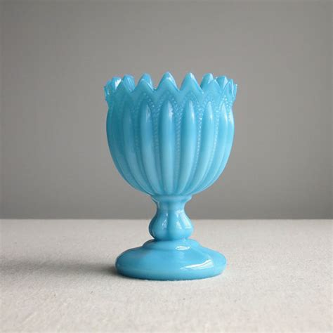 Blue Milk Glass Vase by Turquoise Blue Milk Glass Vase Portieux Vallerysthal Small