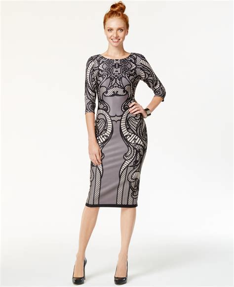 eci lace print midi sheath dress in black lyst