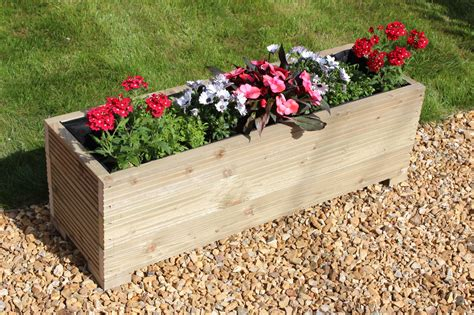 Garden Planters Uk by 1 Metre Large Wooden Garden Trough Planter Made In Decking