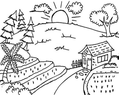 Coloring Mewarnai Pemandangan gambar mewarnai pemandangan gunung dan sawah gambar mewarnai
