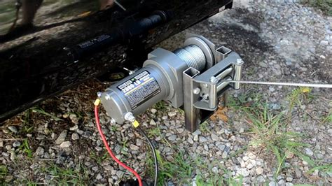 electric boat trailer winch canada mounting a hf 2000lb atv winch to trailer hitch youtube