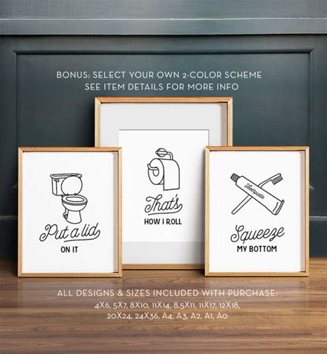 funny bathroom wall art funny wall art bathroom art printable art set of 3