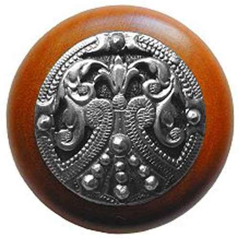 cherry wood regal crest knob with brilliant pewter notting