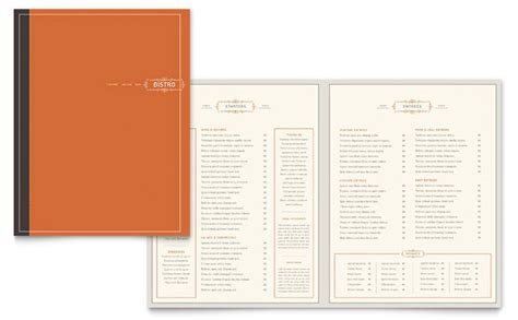 menu layouts templates bistro bar menu template design