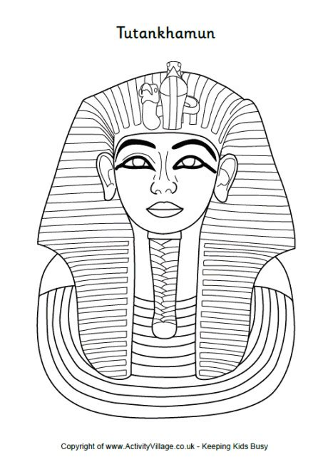 King Tut Mask Template by Tutankhamun Colouring Page