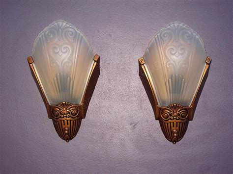 Vintage Wall Sconces Deco Slip Shade Fixtures Antique Wall Sconces