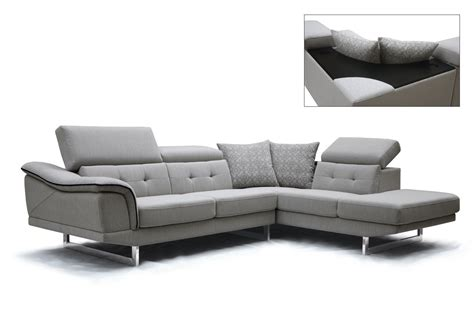 divani casa gaviota modern grey fabric sectional sofa