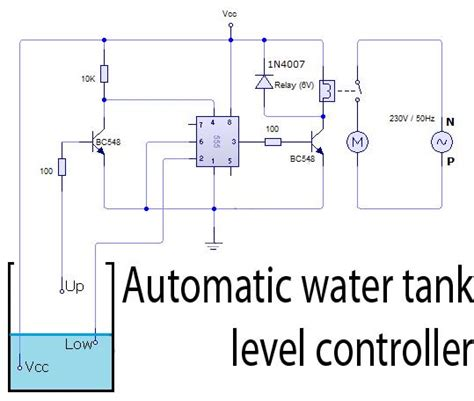 automatic water tank level controller circuit circuit