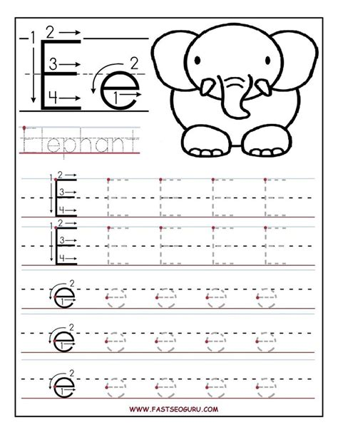 printable alphabet tracing printable letter e tracing worksheets for preschool