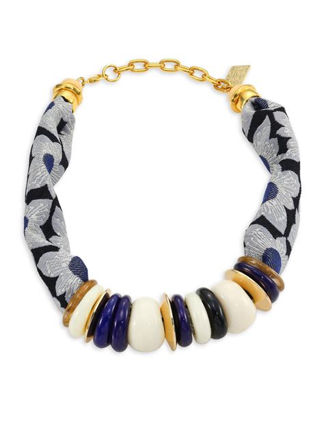 Syal Scarf Twilly Choker Scarf Bowknot Navy Blue Sheeptwch06 Lyst Lizzie Fortunato Floral Kanga Necklace In Blue