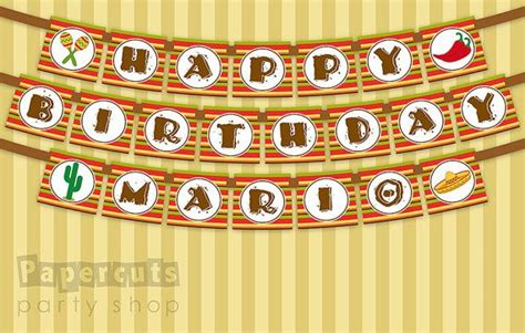 printable mexican banner mexican fiesta theme happy birthday party banner