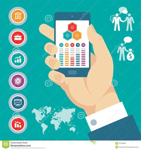 called party pattern usage cdr infographic concept with mobile phone in hand vector
