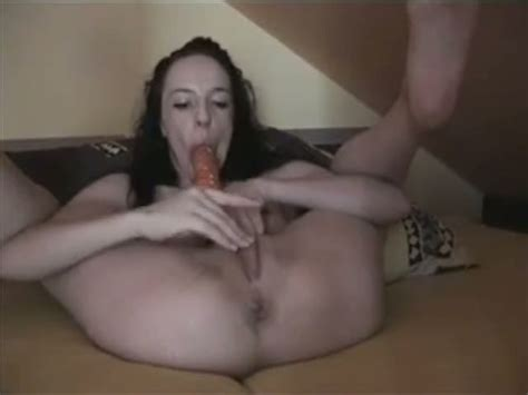 Skinny Brunette Slut Pokes Her Twat With Fat Dildo While I