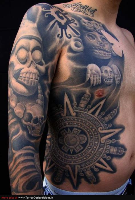 mexican aztec tattoo designs aztec tribal tattoos on aztec designs
