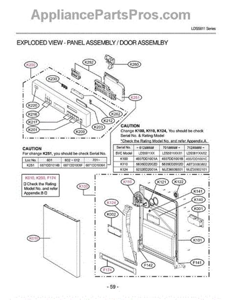lg dishwasher parts diagram lg 4937dd1001a inner door liner appliancepartspros